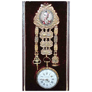 SALE Antique French18 Carat Gold Enamel Portrait Chatelaine with Chailly Watch