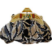 SOLD Figural Celluloid Japanese Woman and Child Art Deco Beaded purse