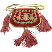 SALE PENDING Antique French Wire Work Sewing Purse Mid 19th Century