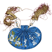 SALE PENDING Antique Chinese Silk Embroidered Scent Pouch Purse Ch'ing Dynasty