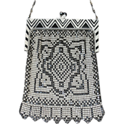 SOLD FINAL DAYS! Whiting and Davis Art Deco Black and White Enamel Mesh Purse