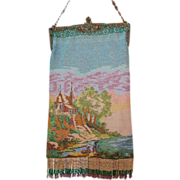SOLD HUGE REDUCTION  Large Micro Beaded Scenic Purse Jeweled Frame European River Scene