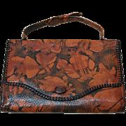 REDUCED Unusual Vintage 20's Bosca Built Embossed Purse Leather Handbag