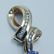 Estate Jewelry 14K Yellow Gold Tanzanite Diamond Pendant Slide