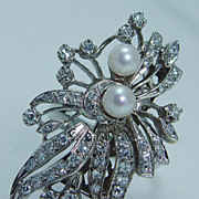 Vintage Jewelry 1 5/16in Huge Pearl Diamond 14K White Gold Cocktail Ring