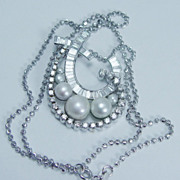 SALE Estate Jewelry 18K White Gold Pearl 1.95cts Diamond Pendant Necklace