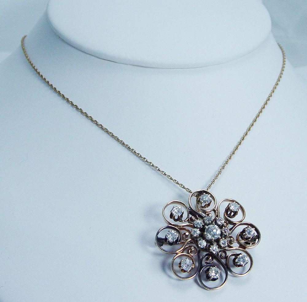 Antique Victorian 2.5ct Old European Diamonds Pendant Brooch 14K Gold Convertible