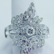 Estate Jewelry 14K White Gold 1.15ct Diamond Guard Cage and Engagement Ring Set