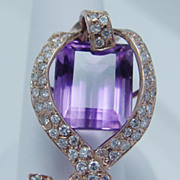 Vintage Jewelry 14K Rose Gold 1.40ct Diamond Bow Amethyst Huge Pendant for Necklace