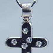 Estate Jewelry 18K White Gold .32ct Diamond Cross Pendant for Necklace