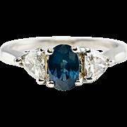 Estate Jewelry 14K White Gold Sapphire Trillion cut .84ct Diamonds Ring Band