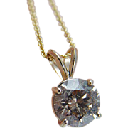 Estate Jewelry 2.63ct Champagne I1 Diamond Solitaire Necklace Retail $27900