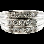 Estate Jewelry 14K White Gold .92ct 3 rows Diamond VS1/GH Men Ring