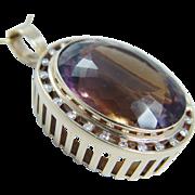 Estate Jewelry Huge 44.07 cts Ametrine Diamond Pendant Brooch 14K Yellow Gold