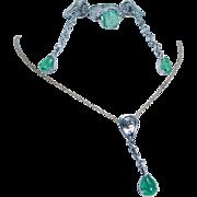 Vintage 18K White Gold Emerald Old miner Diamonds Earrings Pendant Ring Set