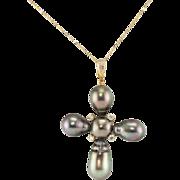 Vintage 18K Yellow Gold Black Baroque Pearls Diamonds Cross Pendant Necklace