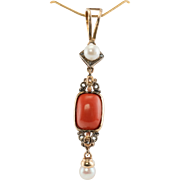 Vintage Jewelry Coral Pearl Rose cut Diamonds 14K Yellow Gold Pendant for Necklace