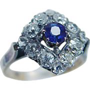 Antique Jewelry 14K Gold .52ct Old miner cut Diamonds Cylon Sapphire Ring