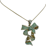 Estate 18K Yellow Gold Apatite Bow Large Pendant for Necklace Jewelry