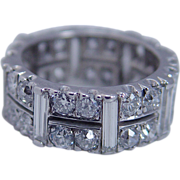 Vintage Platinum 4.10cts Old miner Diamonds Baguettes Eternity Band Ring sz 6.25