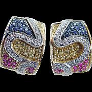 Estate 14K Yellow Gold Diamonds Sapphires Rubies Citrines Earrings Omega backs