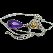 Vintage Art Nouveau 14K Yellow Gold Amethyst Diamond Drop Pendant Necklace