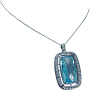 Estate 14K White Gold 1.70ct Diamonds 14.70ct Blue Topaz Enhancer Pendant Necklace