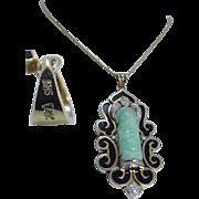 Estate 14K White Rose Gold .90ct Solitaire Diamond Pendant Chain Necklace
