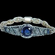 Antique Russian 56 14K Pink Gold Sterling Silver Sapphire Miner Rose .88ct Diamonds Bracelet
