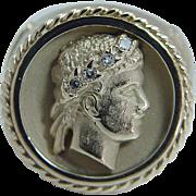 Estate 14K Yellow Gold Cesar Profile Diamonds Men Mens Ring 18 grams Jewelry