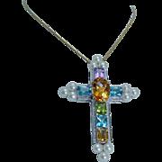 18K White Gold Huge Cross Pendant Pin Brooch Gemstones Diamonds Pearls OOAK