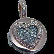 Estate 18K Rose White Gold .90ct Diamond Heart Open Locket Pendant Enhancer