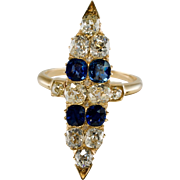 Antique 14K Yellow Gold Old Miner 2.10ct Diamonds 1.40ct Ceylon Sapphires Ring