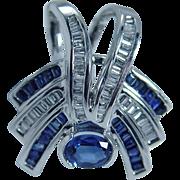 Estate $3442 14K White Gold Sapphire Diamonds Slide Pendant Jewelry