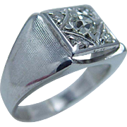 Vintage 14K White Gold .92cttw Old Miner Diamonds Mens Ring Hallmarked Happiness