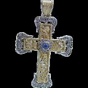 Vintage 18K Yellow Platinum Gold Sapphires Diamonds Large Cross Pendant for Necklace