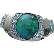 Vintage 14K Yellow Gold Black Australian Opal Diamond Slide Enhancer Pendant for Necklace