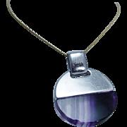 Designer Italian Jewelry Batti Argenti Gioielli Sterling Silver Fused Quartz Pendant