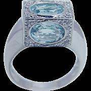 Estate Italian 18K White Gold Aquamarine Diamonds 3-D Ring Unusual Jewelry