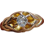 Antique c.1904 .50ct Old Miner cut Diamond 14K Yellow Gold Engagement Ring