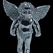 Estate 14K White Gold Diamonds Cherub Angel with Wings Pendant 10.9gr