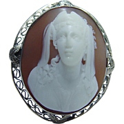 Vintage 14K White Gold High Profile Shell Cameo Pendant Brooch Pin Jewelry