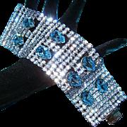 DOMINIQUE~Amazing Vintage Huge Sky Blue Crystal/Rhinestone Runway Statement Bracelet