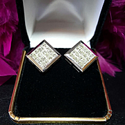 $8000~18KT White Gold Invisible Princess Cut Diamond Omega Back Pierced Earrings