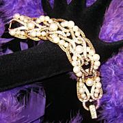 CAROLEE LUX~Amazing Vintage Rhinestone/Crystal/Simulated Pearl Runway Statement Bracelet