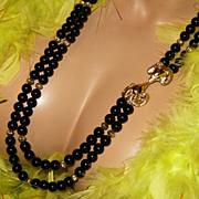"KJL~AVON~30"" Vintage Black/Gold Bead Statement Necklace~Rhinestone Ram Head Clasp"