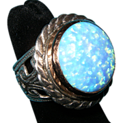 925 Sterling Silver 14K Yellow Gold Fire Opal Israel Made Hammered Ring Sz 6