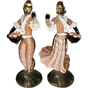 MURANO~Amazing Vintage Peach Controlled Bubble/Gold Fleck Art Glass Figurines