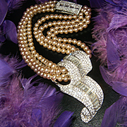 Amazing Signed PATS PEND Vintage Pearl Runway Necklace~Huge Rhinestone Pendant/Clasp