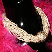 Stunning Vintage Simulated Pearl Statement Necklace W/Huge Rhinestone Pendant